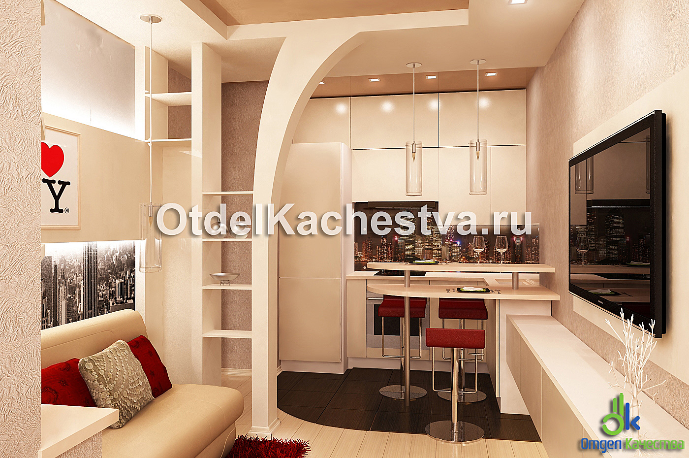 Кухня студия с барной стойкой дизайн фото 175